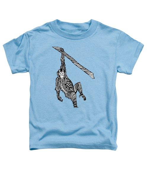 Swinging Chimpanzee Zentangle Toddler T-Shirt by Kylee S
