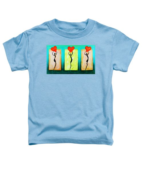 Three Abstract Figures With Hearts Toddler T-Shirt