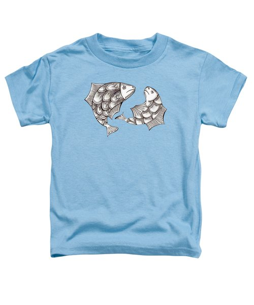 Two Ink Pen Graphic Hand Drawn Black And White Fish Toddler T-Shirt