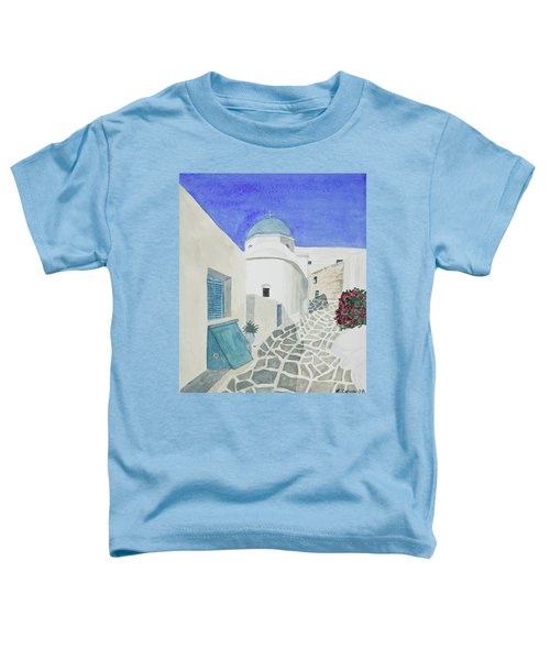 Watercolor - Paros Church And Street Scene Toddler T-Shirt