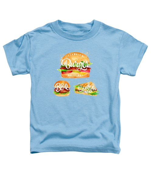 White Burger Toddler T-Shirt by Aloke Creative Store