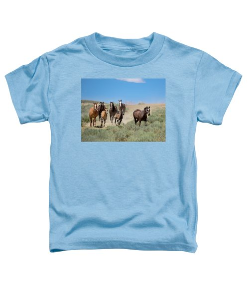 wild mustangs on the run to the water hole in Sand Wash Basin Toddler T-Shirt