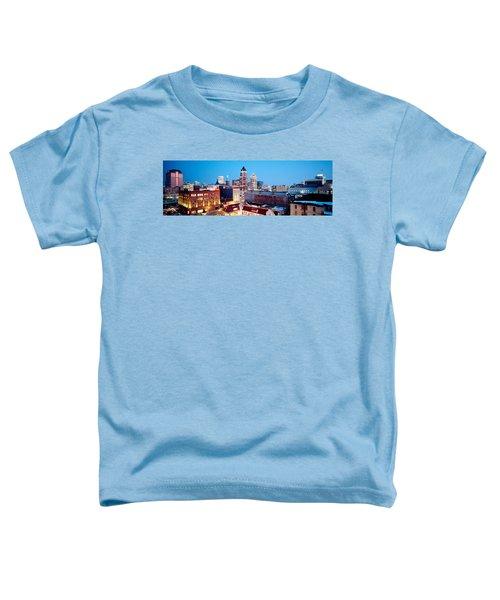 Winter Skyline At Night, Milwaukee Toddler T-Shirt