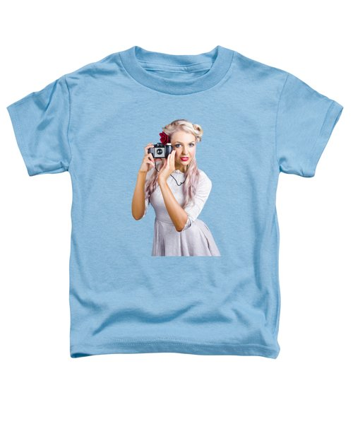 Woman Using Retro Film Camera Toddler T-Shirt by Jorgo Photography - Wall Art Gallery