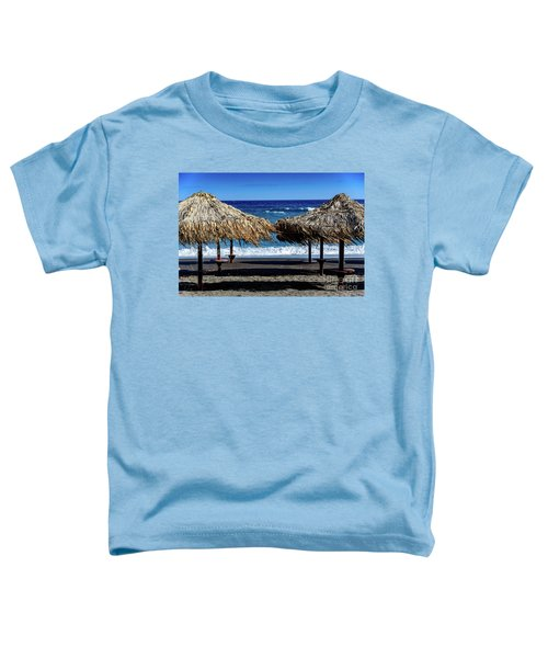 Wood Thatch Umbrellas On Black Sand Beach, Perissa Beach, In Santorini, Greece Toddler T-Shirt