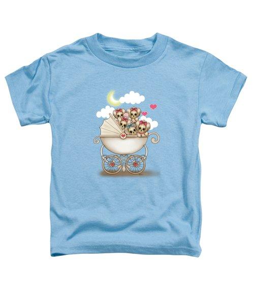 Yorkie Babies Strolling  Toddler T-Shirt