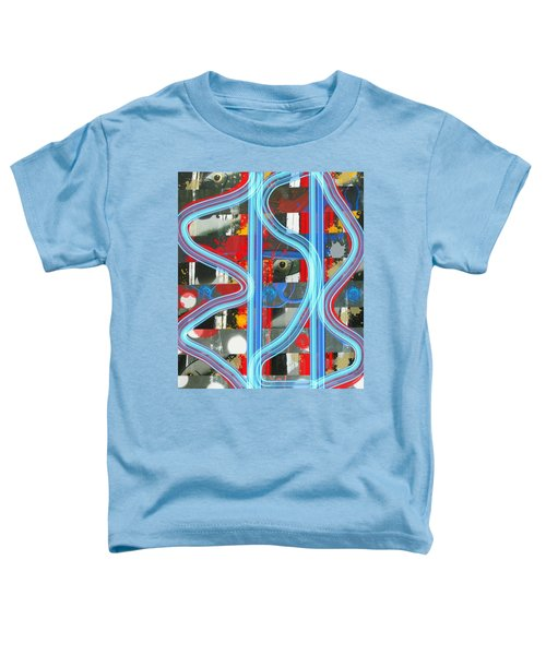 Blue Meet Red Black And White Fish Toddler T-Shirt