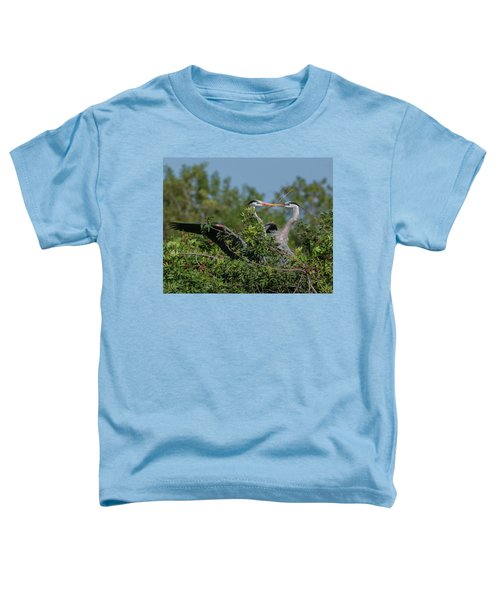 Toddler T-Shirt featuring the photograph Breeding Herons by Donald Brown