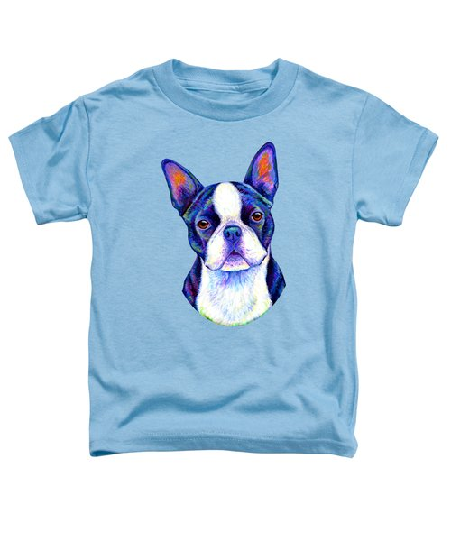 Colorful Boston Terrier Dog Toddler T-Shirt