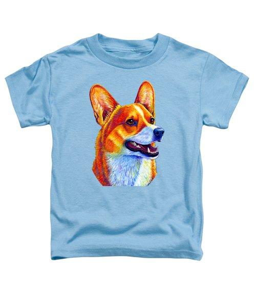 Colorful Pembroke Welsh Corgi Dog Toddler T-Shirt