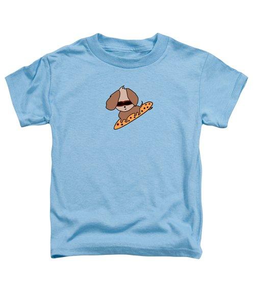 Cute Dog On Surfboard Toddler T-Shirt