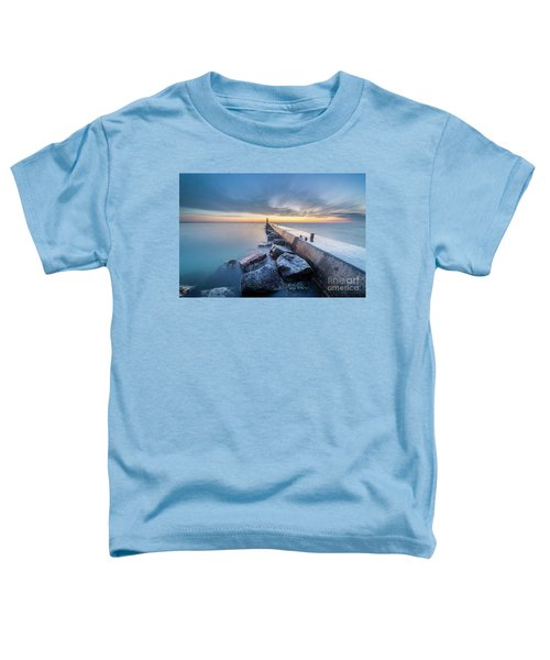Frankfort Pier At Dusk In Winter Toddler T-Shirt