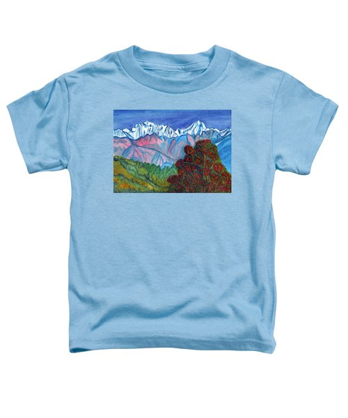 Blooming Tree On A Background Of Snowy Mountains Toddler T-Shirt