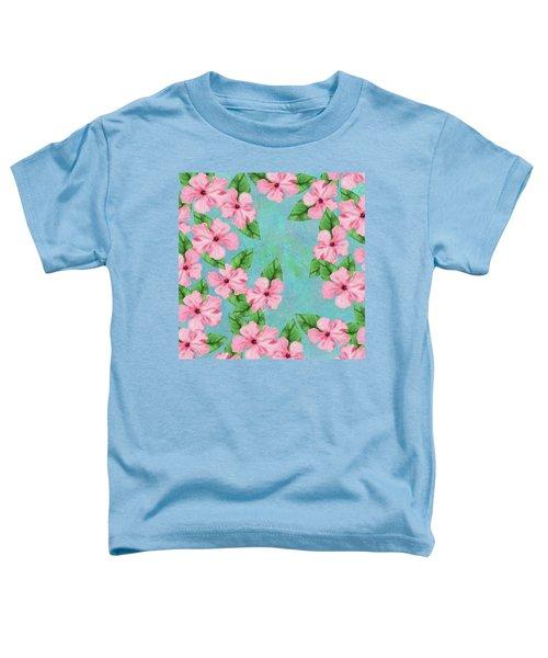 Pink Hibiscus Tropical Floral Print Toddler T-Shirt
