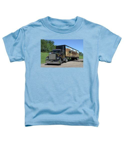 Smokey And The Bandit Tribute Kenworth W900 Black And Gold Semi Truck Toddler T-Shirt