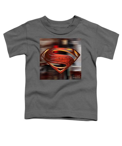 Toddler T-Shirt featuring the mixed media Man Of Steel Superman by Marvin Blaine