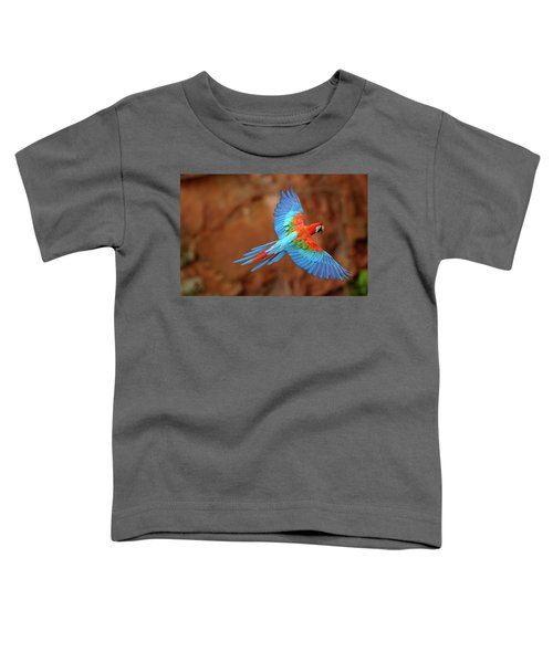 Red And Green Macaw Flying Toddler T-Shirt