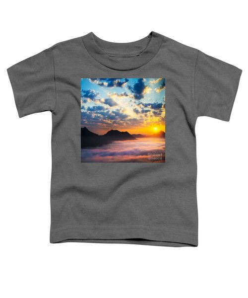 Sea Of Clouds On Sunrise With Ray Lighting Toddler T-Shirt