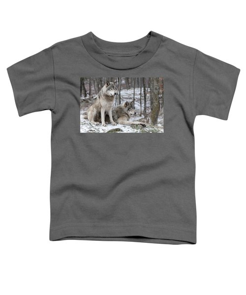 Timber Wolf Pair In Forest Toddler T-Shirt
