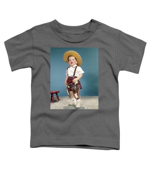 1950s 1960s Little Boy Wearing Cowboy Toddler T-Shirt