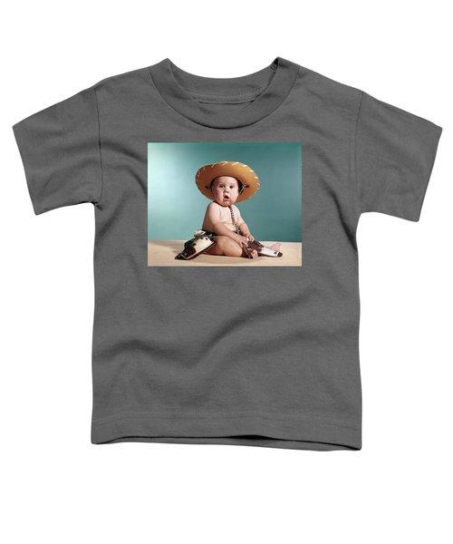 1960s Baby Wearing Cowboy Costume Toddler T-Shirt