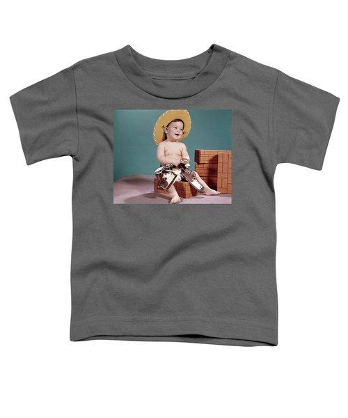 1960s Smiling Baby Wearing Cowboy Hat Toddler T-Shirt