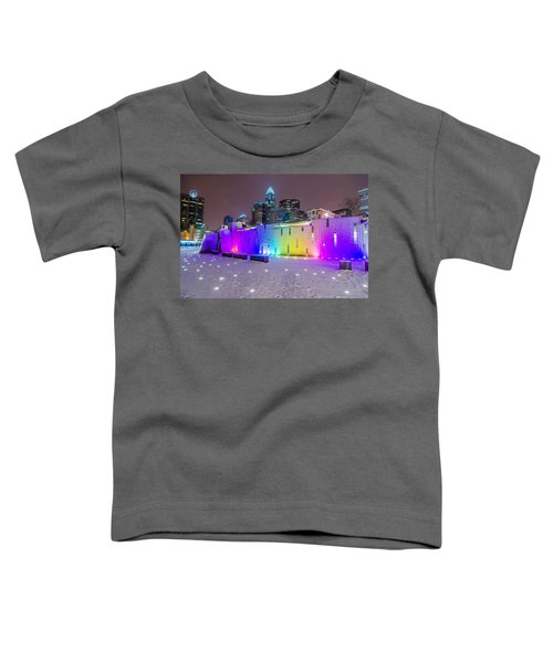 Charlotte Queen City Skyline Near Romare Bearden Park In Winter Snow Toddler T-Shirt