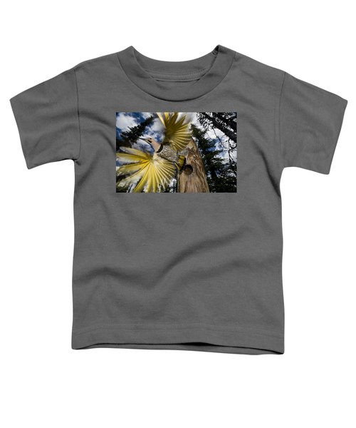 Northern Flicker Leaving Nest Cavity Toddler T-Shirt
