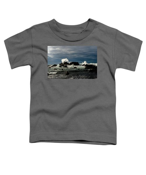 Stormy Seas And Spray Under Dark Skies  Toddler T-Shirt