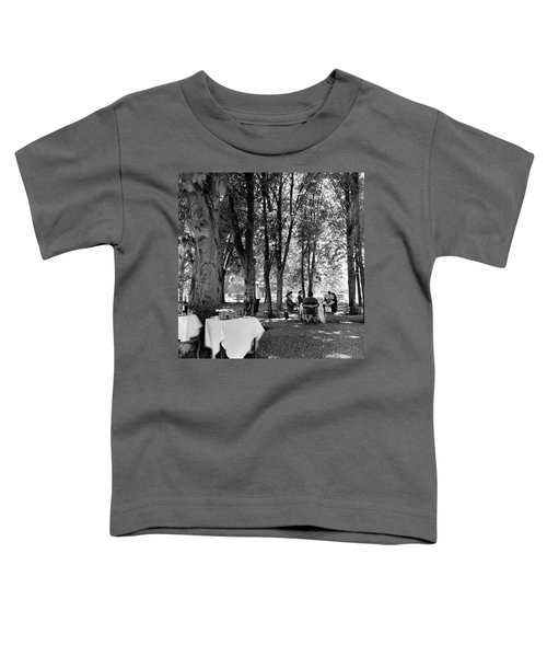 A Group Of People Eating Lunch Under Trees Toddler T-Shirt