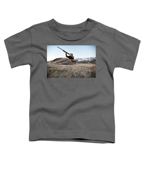 A Hunter Aims His Rifle From A Blind Toddler T-Shirt