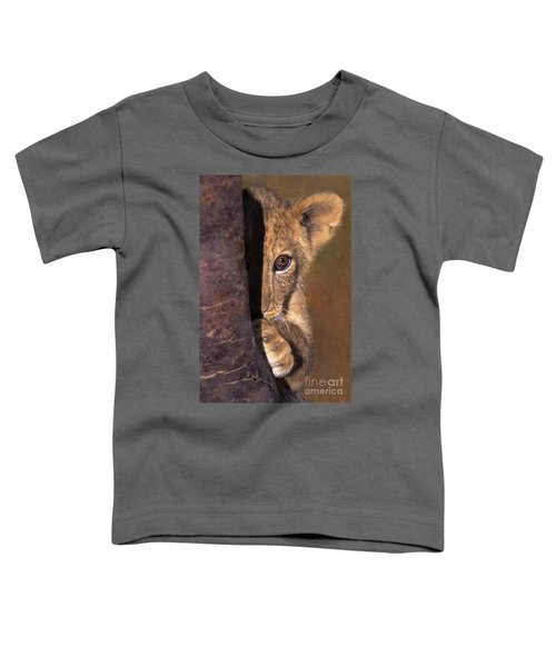 A Lion Cub Plays Hide And Seek Wildlife Rescue Toddler T-Shirt