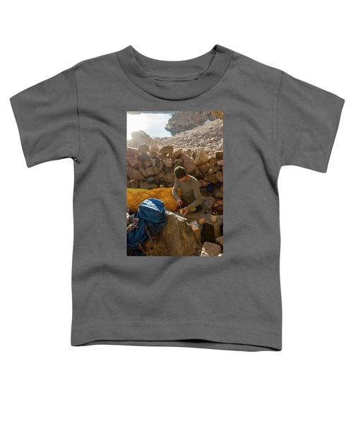 A Male Mountain Climber Getting Ready Toddler T-Shirt