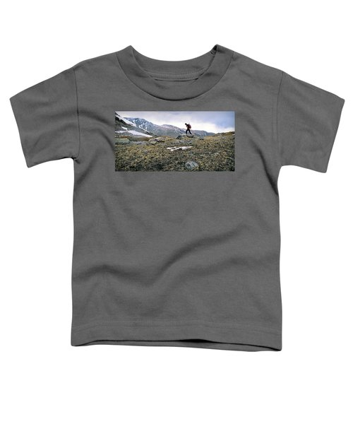 A Man Hikes Towards Mt. Neva 12,814 Ft Toddler T-Shirt