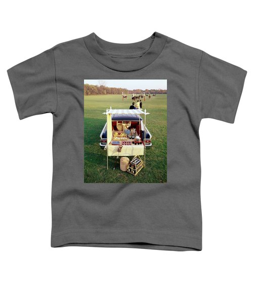 A Picnic Table Set Up On The Back Of A Car Toddler T-Shirt