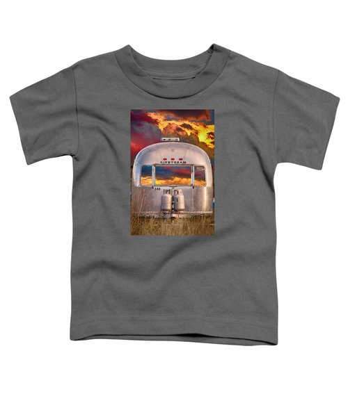 Airstream Travel Trailer Camping Sunset Window View Toddler T-Shirt