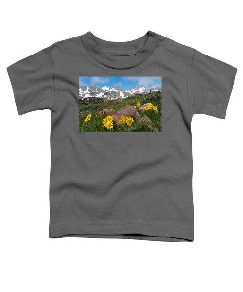 Alpine Sunflower Mountain Landscape Toddler T-Shirt
