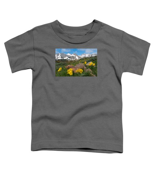 Alpine Sunflower Mountain Landscape Toddler T-Shirt