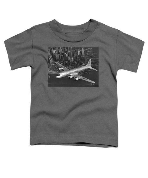 American Dc-6 Flying Over Nyc Toddler T-Shirt