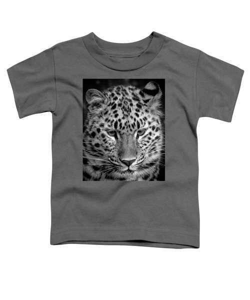 Amur Leopard In Black And White Toddler T-Shirt