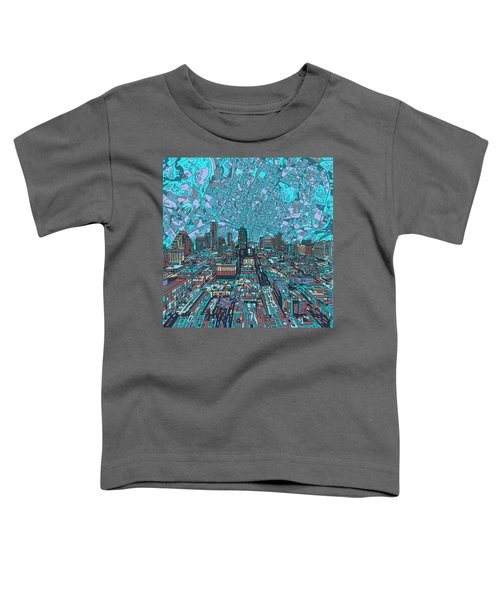 Austin Texas Vintage Panorama 4 Toddler T-Shirt by Bekim Art
