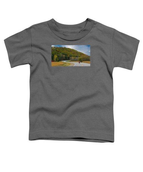 Autumn Motorcycle Rider / Orange Toddler T-Shirt