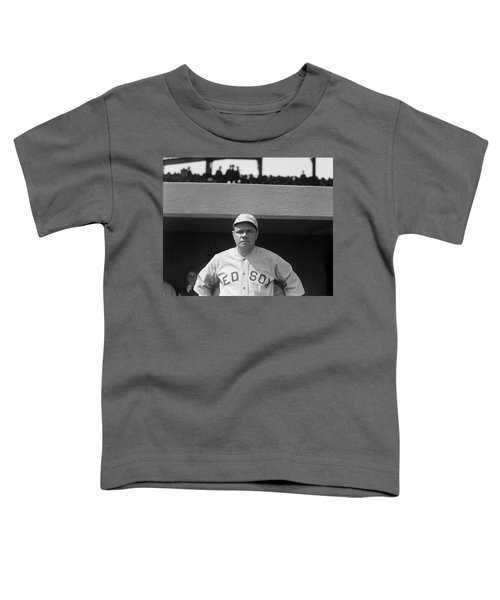 Babe Ruth In Red Sox Uniform Toddler T-Shirt by Underwood Archives