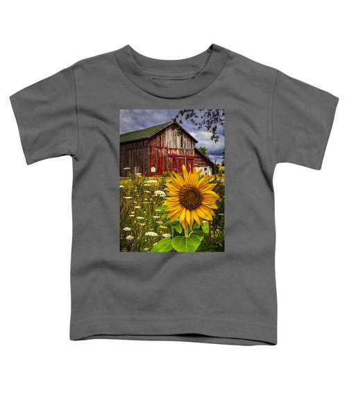Toddler T-Shirt featuring the photograph Barn Meadow Flowers by Debra and Dave Vanderlaan