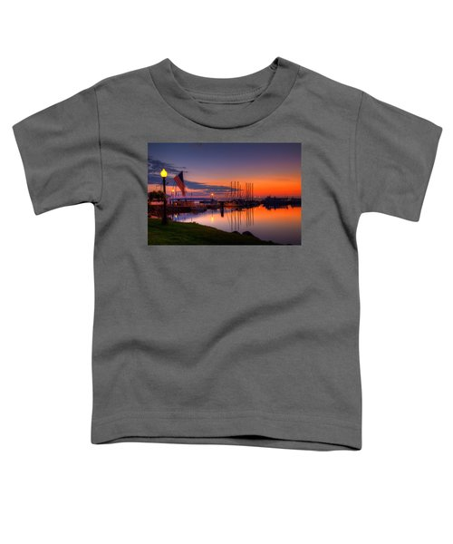 Bayfield Wisconsin Fire In The Sky Over The Harbor Toddler T-Shirt