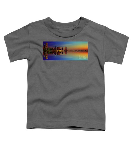 Between Night And Day Chicago Skyline Mirrored Toddler T-Shirt