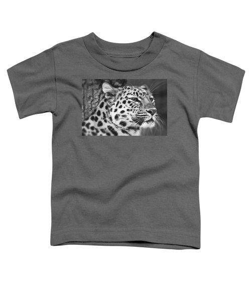 Black And White - Amur Leopard Portrait Toddler T-Shirt