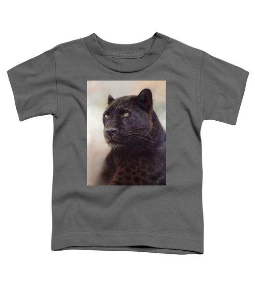 Black Leopard Painting Toddler T-Shirt by Rachel Stribbling