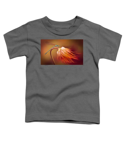 Toddler T-Shirt featuring the photograph Blue Dragonfly On A Dry Flower by Jaroslaw Blaminsky