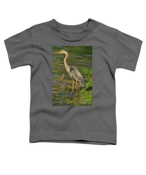 Blue Heron On The Bank Toddler T-Shirt
